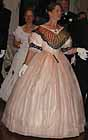 1860 evening dress, peach silk organza over cream silk taffeta, striped silk berthe