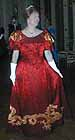 1898 ball dress, red silk jacquard, gold silk satin applique dragon, worn by Idy