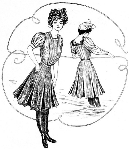 9309, fig. 1: with square neck and puff sleeves, fig. 2: with sailor collar and sleeves.