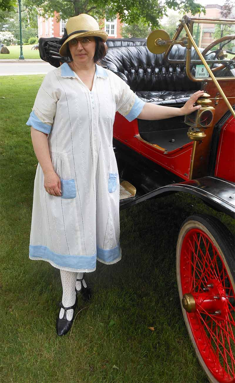 1920 cream eyelette and blue linen day dress