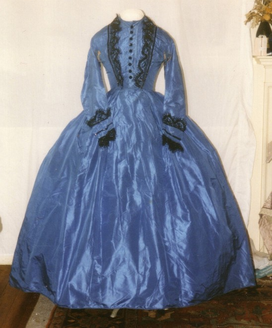 blue silk day dress