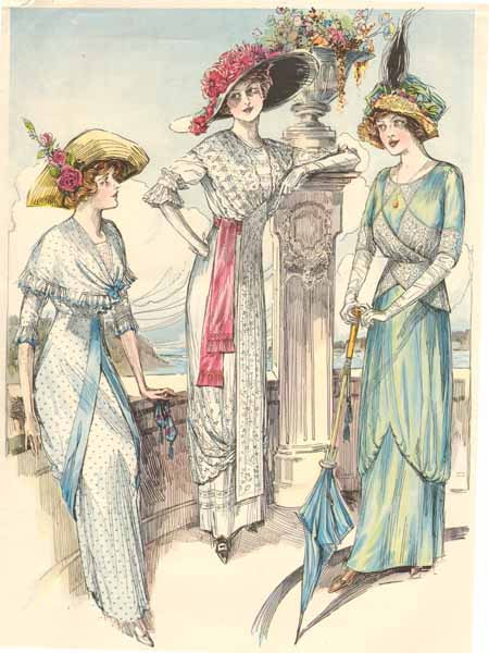 88966bbce27 Evening dresses were usually made of fine silks, with open necklines and  short sleeves, which could be cut in one with the body of the dress.