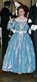 1830 evening dress, blue silk taffeta, 2nd incarnation, worn by Idy in Vienna 2005